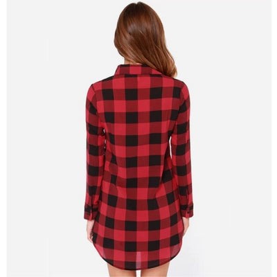New autumn cotton Checker plaid blouses shirt female long sleeve casual slim women shirt office lady tops Clothing