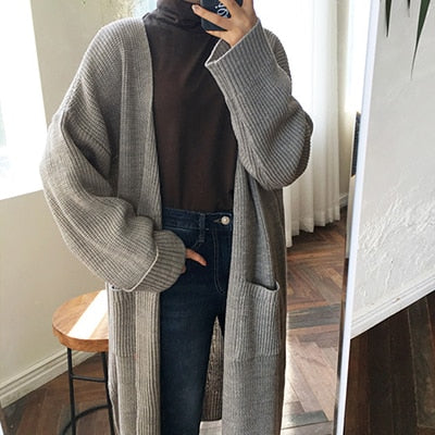 korean Long Cardigan Women Autumn Fashion Long Knitted Sweater Female Oversized Tops Fall Casual Black Coat Winter Clothing
