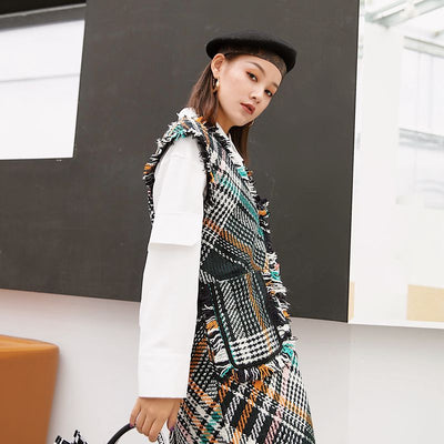 limiguyue autumn winter loose colorful plaid tweed dresses women vest tassel dress hippie chic loose runway dress hippie Z0978