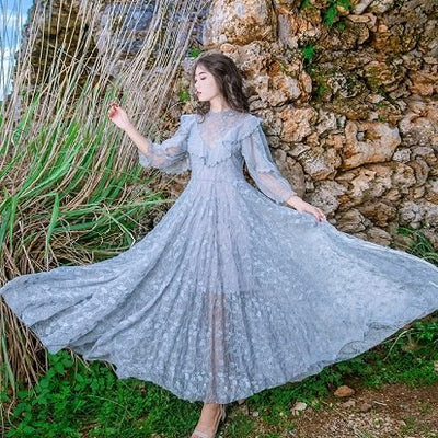 limiguyue big swing long maxi dresses summer beach holiday mexican hippie chic lace dress party dress runway Z0132