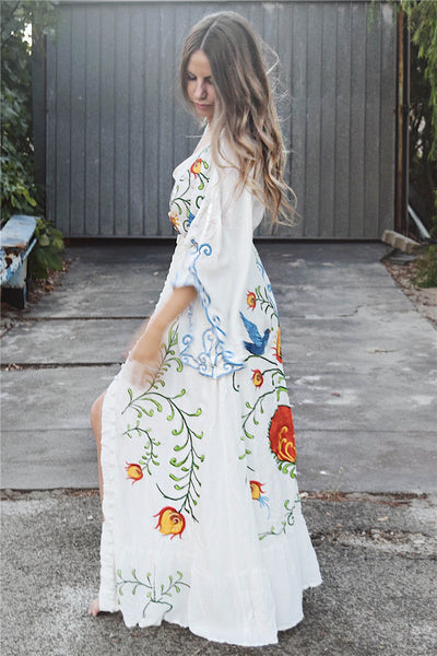 limiguyue bohemian floral embroidery hollow out tassel vintage long dress hippie chic boho dress runway dress Z0114