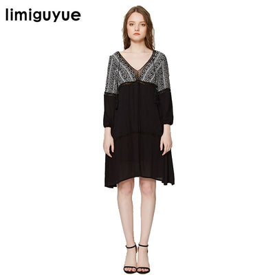 limiguyue hollow out embroidery runway dress women white black v neck linen summer dress bohemian people hippie chic dress Z0242