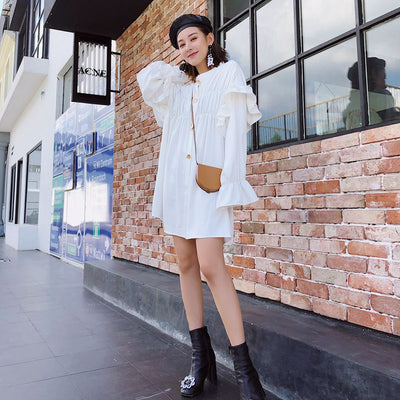 limiguyue white shirt dress women ruffles hippie chic autumn vintage designer runway dress casual loose party mini dress Z0978