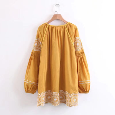 orang boho mini dress Vintage cotton floral Embroidery chic tassel lantern long sleeve Casual dresses hippie women dress