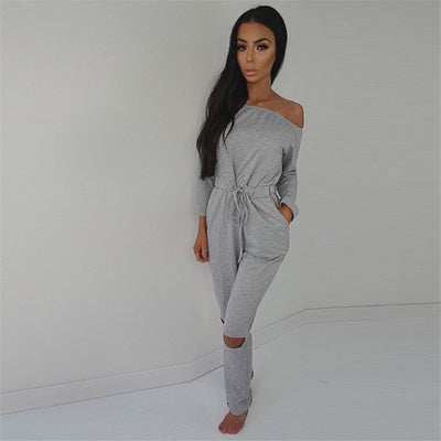 Jumpsuits For Women Sexy Summer New Arrival High Street Style Elegant Long Sleeve Slash-Neck Off Shoulder Jumpsuit Rompers