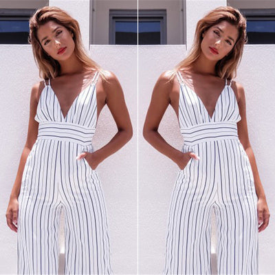 Sexy Women Striped Summer Jumpsuit Sleeveless Strappy High Waist Ladies Clubwear Deep V Neck Playsuit Bodycon Party Jumpsuit