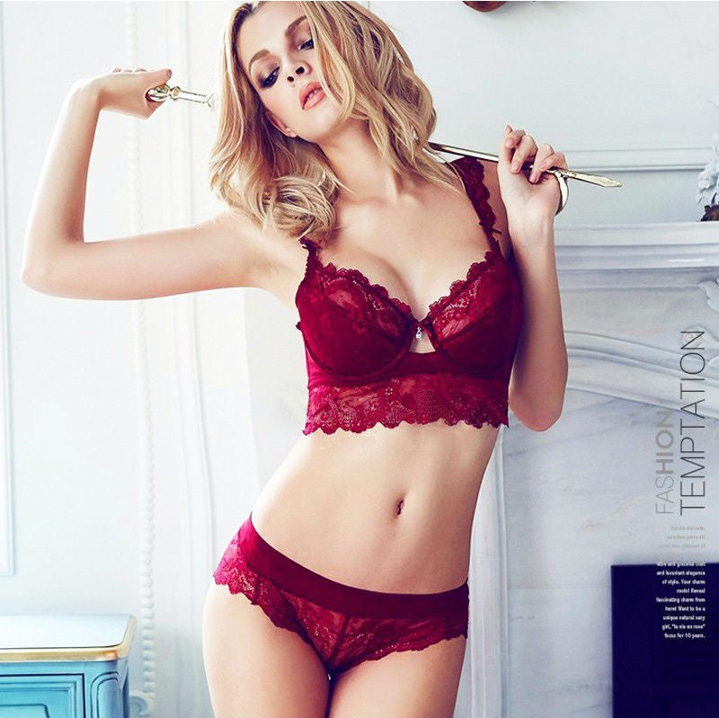 519250f30 Sexy Mousse Women Sexy Bra Set Ultra-thin Red Black Lace Bras Underwear  Push up