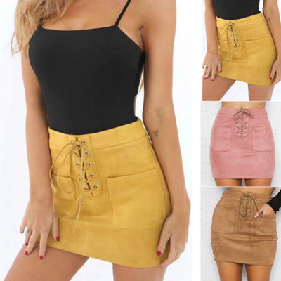 Women Leather Suede Lace Up Bandage High Waist Party Pencil Short Mini Skirt Ladies Womens Brief Solid Daily Skirts
