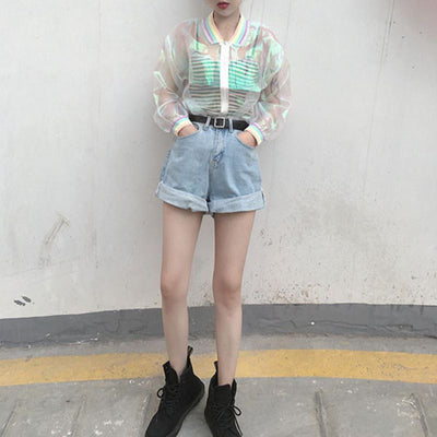 Women Tops Harajuku Laser Rainbow Symphony Hologram Lridescent Transparent Bomber Jacket Sunproof Coat