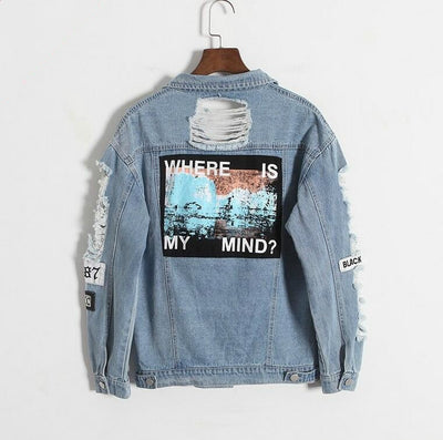 Where is my mind? Korea Kpop retro washing frayed embroidery letter patch bomber jacket Blue Ripped Distressed Denim Coat Female