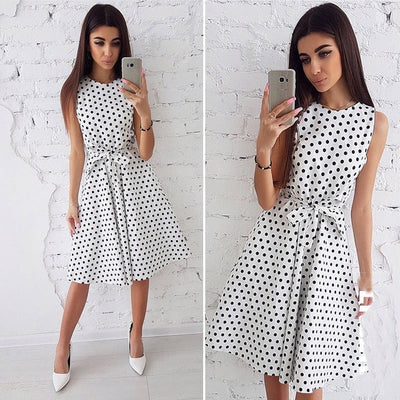 Women Summer Dress Fashion Dot Print Sleeveless Casual Boho Dress Ladies Elegant Vintage Knee-Length Party Dresses Vestidos