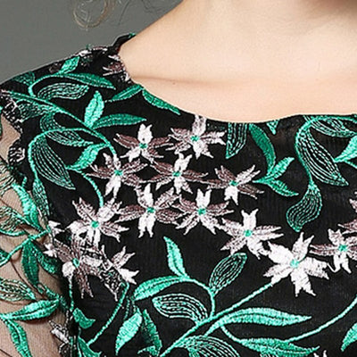 Tanpell mesh cocktail dress green see through 3/4 sleeves above knee sheath gown women embroidery party short cocktail dresses
