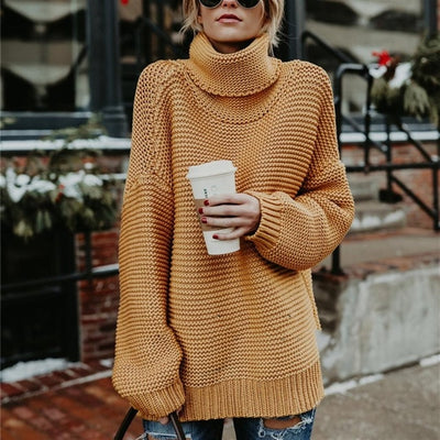 Winter Women Turtleneck Sweater Plus Size Female Casual Loose Long Sleeve Warm Sweater Warm Womens Pullover Winter Cable Knitted