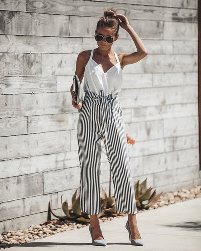 Fashion Women Long Pants Lace up Wide Leg Pants Striped Stretch OL Pencil Trousers Slim High Waist Trousers