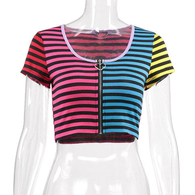Summer Women Tank Top Crop Top Zip up Low cut Casual Short Sleeve T-Shirt Colorful Stripe Printed Slim Sexy Lady