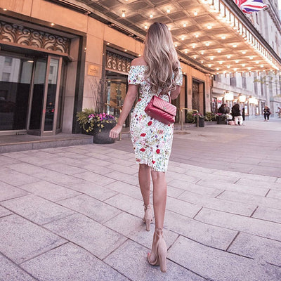 explosion fashion print dress sexy word shoulder knees ladies dress fashion wild split dress