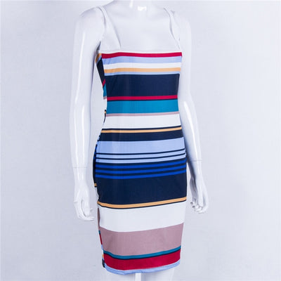 Trendy Women dress off shoulder strap summer Bodycon Slim Party striped Pencil Polyester Dresses one pieces