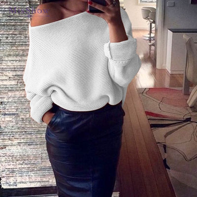 MisShow Autumn Sexy Off Shoulder White Women Sweaters Ladies Jumper Slash Neck Long Sleeve Pullover Loose Casual Knitwear