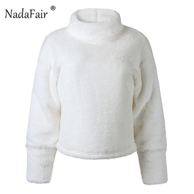 Nadafair long sleeve turtleneck white soft plush sweater women 2018 autumn winter casual thick warm faux fur pullover tops women