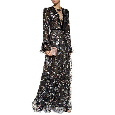 see through mesh embroidery floral maxi dress deep v neck velvet bowknot cuff long sleeve a line sexy winter dress party dresses