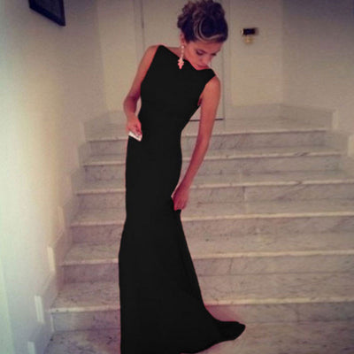 sexy black Mermaid Long Formal Evening party Dresses elegant Sleeveless Prom Party Floor-Length Gowns Kaftan Robe De Soiree