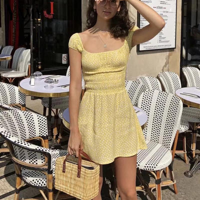 sexy summer dresses yellow floral mini beach dress women backless elastic waist boho dress korean casual ladies dresses vestidos