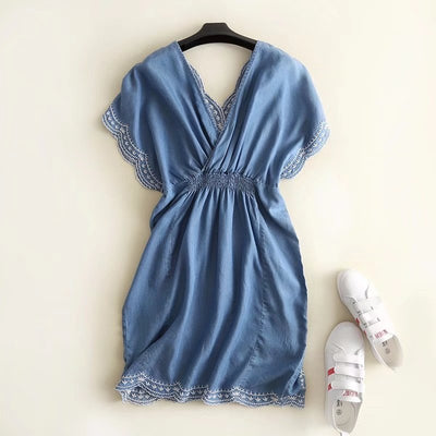 summer deep v neck sexy mini denim dress gathered waistband backless embroidery short pleated Jeans dresses light blue