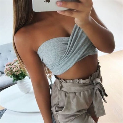 summer tops for women off the shoulder tops One Size Multi Style Crop Tops Sexy T Shirts Ladies Solid Slim Outwear Clothes