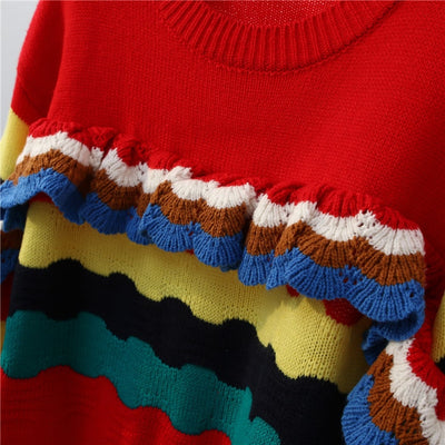 sweater mujer invierno rainbow striped sweaters knitted pullovers o neck christmas colorful jumpers autumn knit outwear