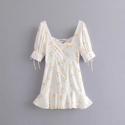 vintage boho Summer dress yellow Cherry print dress women square collar lace up party dress elegant korean clothes vestidos