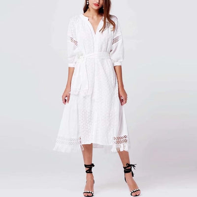 white cotton lace Embroidery boho dress new autumn vintage lantern Sleeve dresses Casual loose brand long women dress