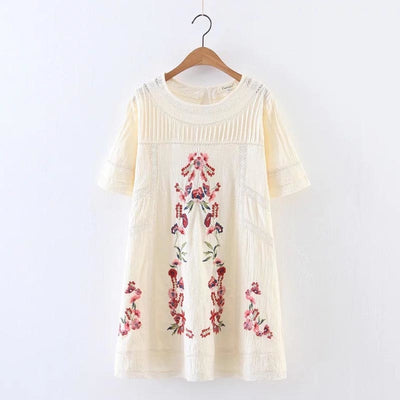 white dress 2018Floral Embroidery cotton summer dress o-neck half Sleeve A-line mini Dresses elegant party women dress vestidos