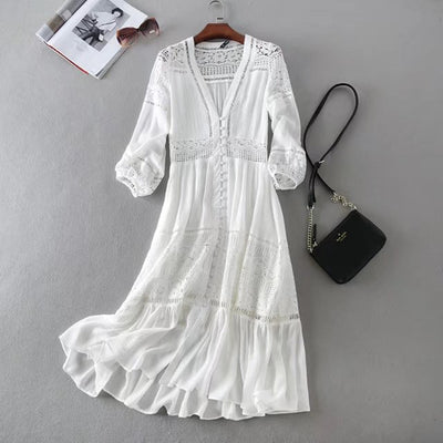 white party women dress sexy boho dress Spring new deep v-neck Lace stitch dresses Elegant long Sleeve women brand clothing