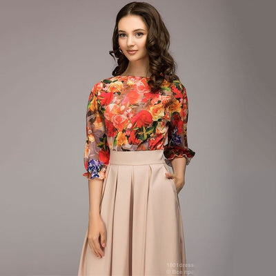 women autumn knee-length dress O-neck long sleeve printing dress with ruffles Elegant women Summer vestidos
