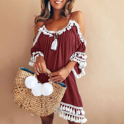 women sexy cold shoulder halter tassel lace trim cotton loose shift dress Robe purple black Summer beach holiday short dress