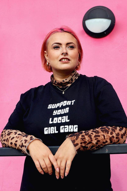 Black Oversized Support Your Local Girl Gang Tee - [sku} - Lalabella - Lalabella