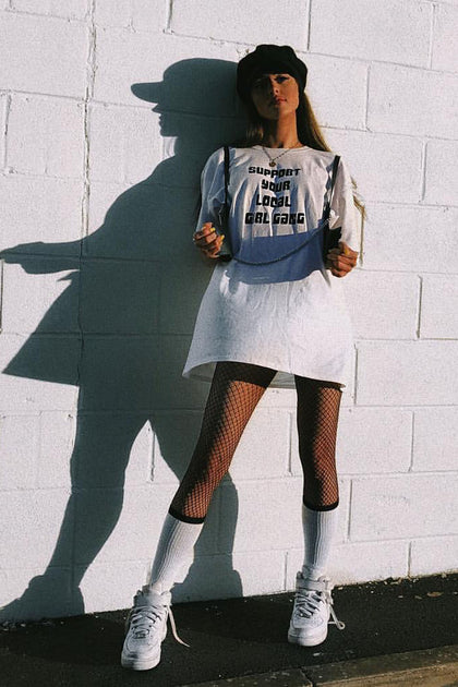 White Oversized Support Your Local Girl Gang Tee - [sku} - Lalabella - Lalabella