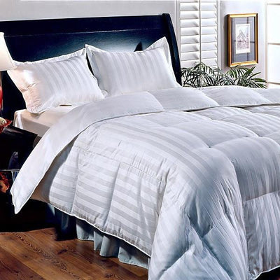 600 Fill Power Striped Down Comforter Comforters Down Cotton Cal King