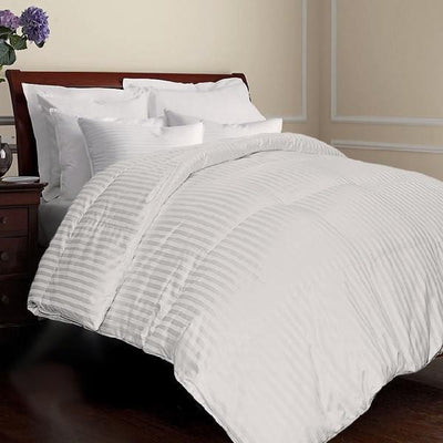 All year Warm Luxurious 750 Fill Power Goose Down Striped Comforter Comforters Down Cotton Cal King