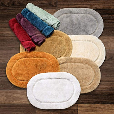 Ultra Plush, Soft, and Absorbent 100% Combed Cotton Pile Bath Rugs - Oval & Checkered Styles Bath Rug Down Cotton
