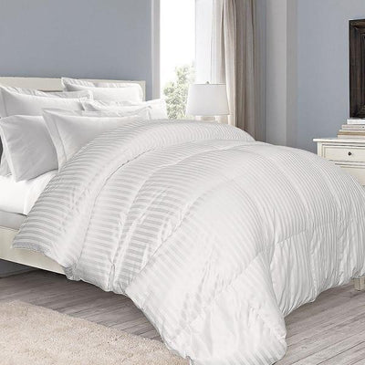 Warm and Fluffy 650 Fill Power Striped Down Comforter Comforters Down Cotton Cal King