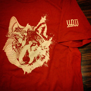 wolf-den-wares - Two Wolves Tee (Cardinal Red) - Wolf Den Wares -