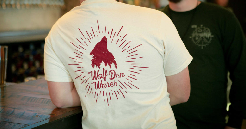 wolf-den-wares - Logo Pocket Tee, Natural - Wolf Den Wares -