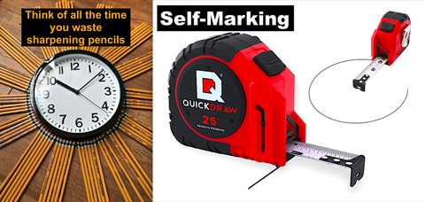 there are approximately 950,000 carpenters in the US… imagine how much collective time is wasted looking for pencils, sharpening pencils, or looking for something to sharpen a pencil with.  It's TIME to end this madness - The top-rated QuickDraw self-marking tape measure is on sale today- www.quickdrawtapes.com