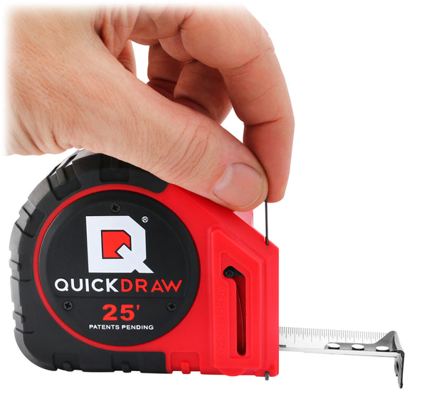 QuickDraw tape measure being reloaded with graphite like a mechanical pencil