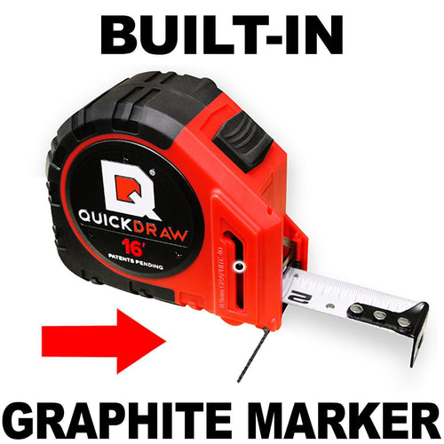 16' Foot QUICKDRAW Marking Tape Measure (Pro Model - Red- Imperial)