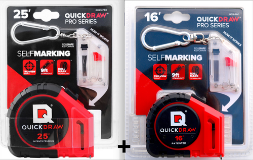 25' Foot and 16' VALUE PACK - QUICKDRAW Marking Tape Measures (PRO models)
