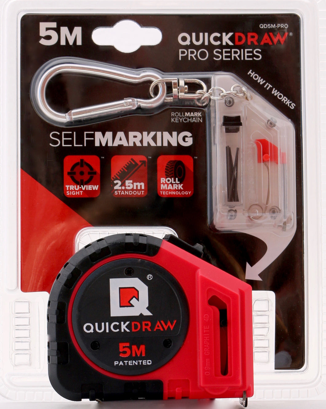 5 Meter QUICKDRAW Marking Tape Measure (Pro Model - Red- Metric)