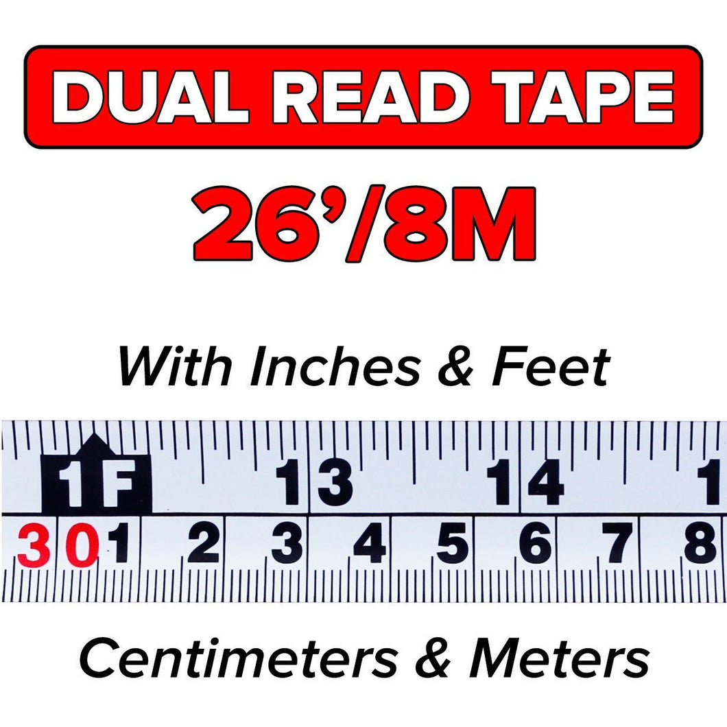 Dual Read 26 8m Quickdraw Pro Marking Tape Measure Contractor