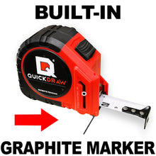 "SELF-MARKING QUICKDRAW tape measure makes 2000+ marks (1/4"") per load. Reloading takes only 10 seconds, and FYI: Your tape comes with 10 Refills that will make over 20,000 1/4"" marks, to start with. See our reload video, for simple instruction (no tools required)."